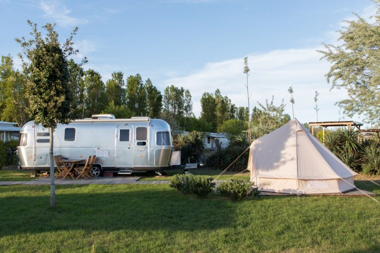 Airstream Park with airstreams and tents