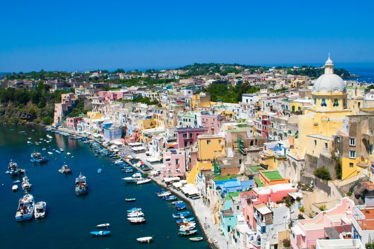 Procida view from Italy Airstream Park in Procida near Naples