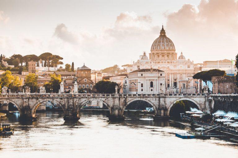 sunset in rome - tevere river