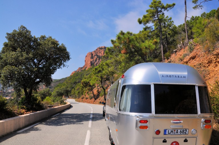 riding a car with an airstream through the streets of Italy